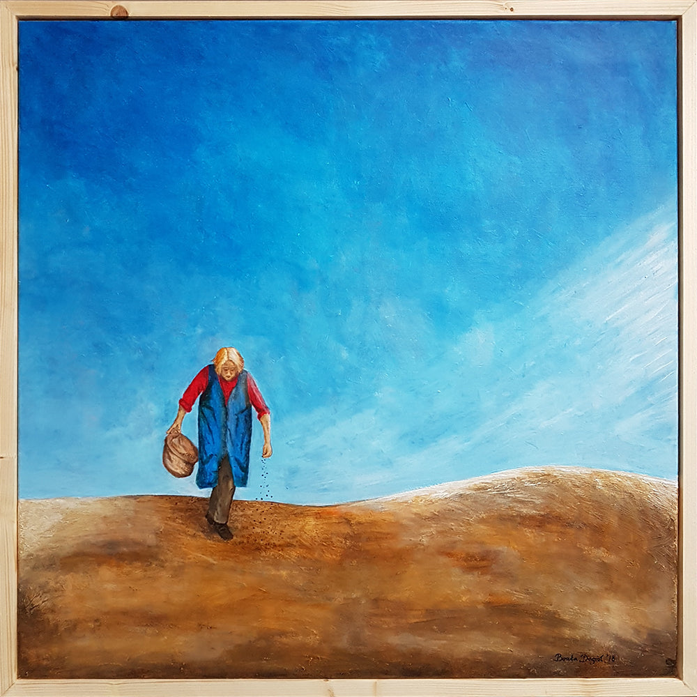 Circle of Life, Original Painting of an Old Woman, Acrylic on Canvas by Beata Dagiel