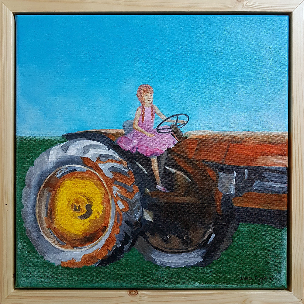 Farmer's Daughter, Original Painting on Canvas by Beata Dagiel, Framed