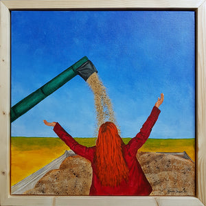 Harvest Day, Original Painting, Acrylic on Canvas, Beata Dagiel, Framed