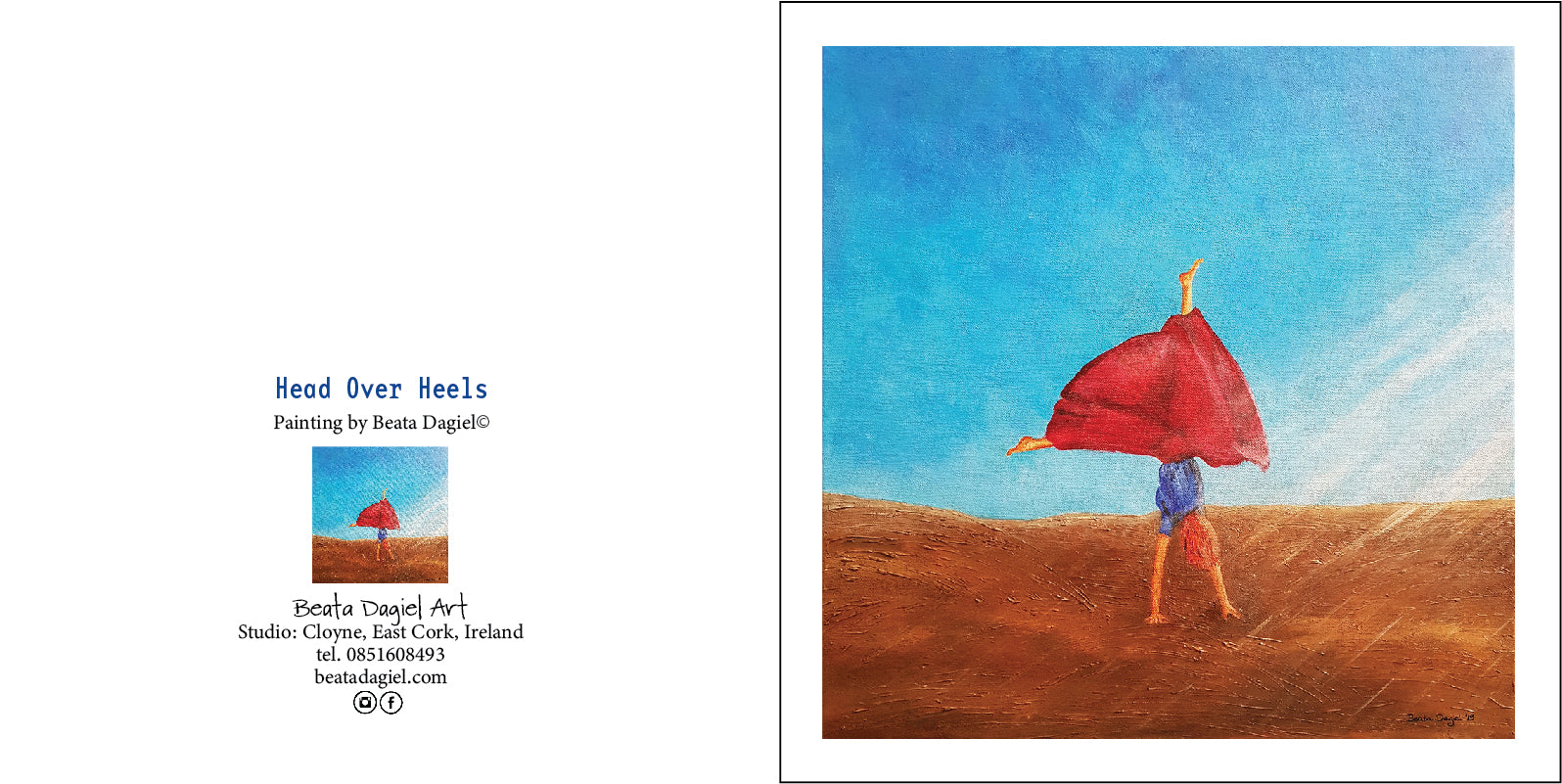 Head Over Heels, Gift Card with a painting by Beata Dagiel