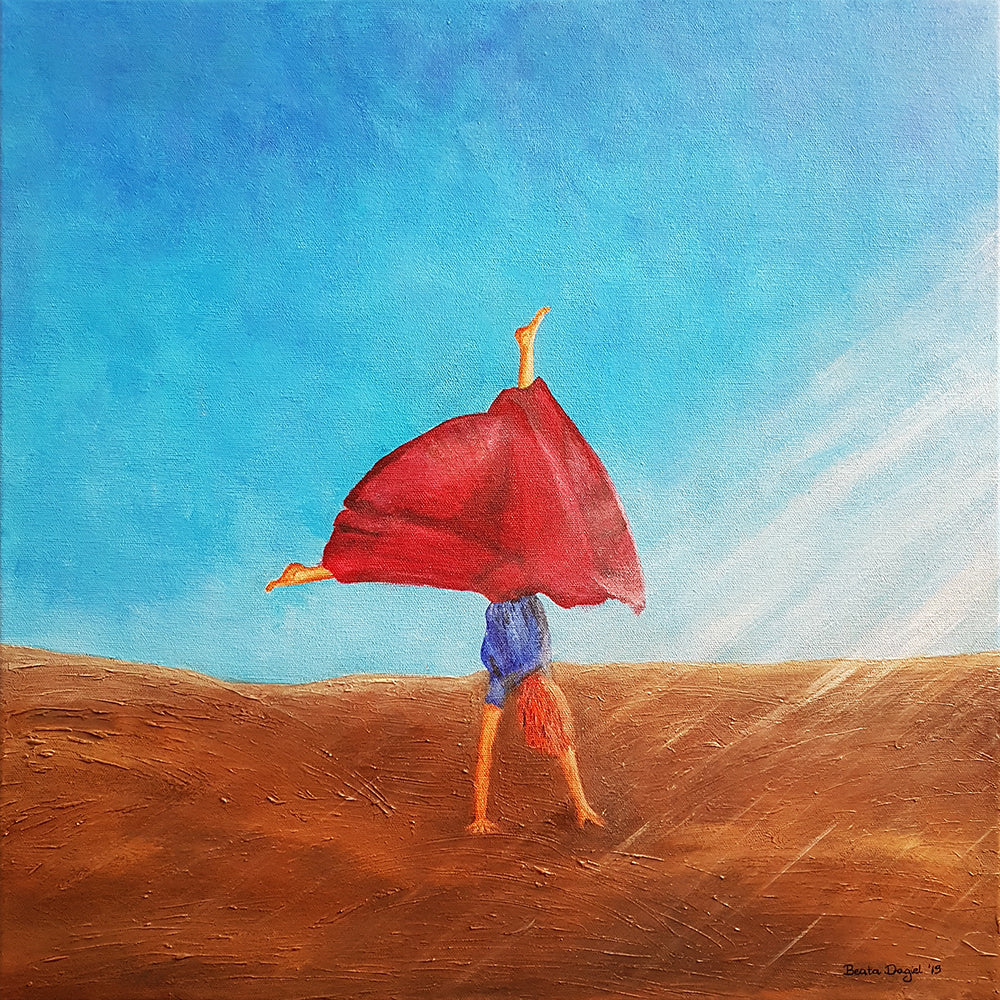 Head Over Heels, Original Painting by Beata Dagiel, Girl doing cartwheels