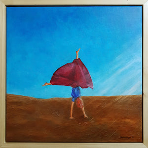 Head Over Heels, Original Painting, Acrylic on Canvas, Beata Dagiel, Cartwheel, Framed