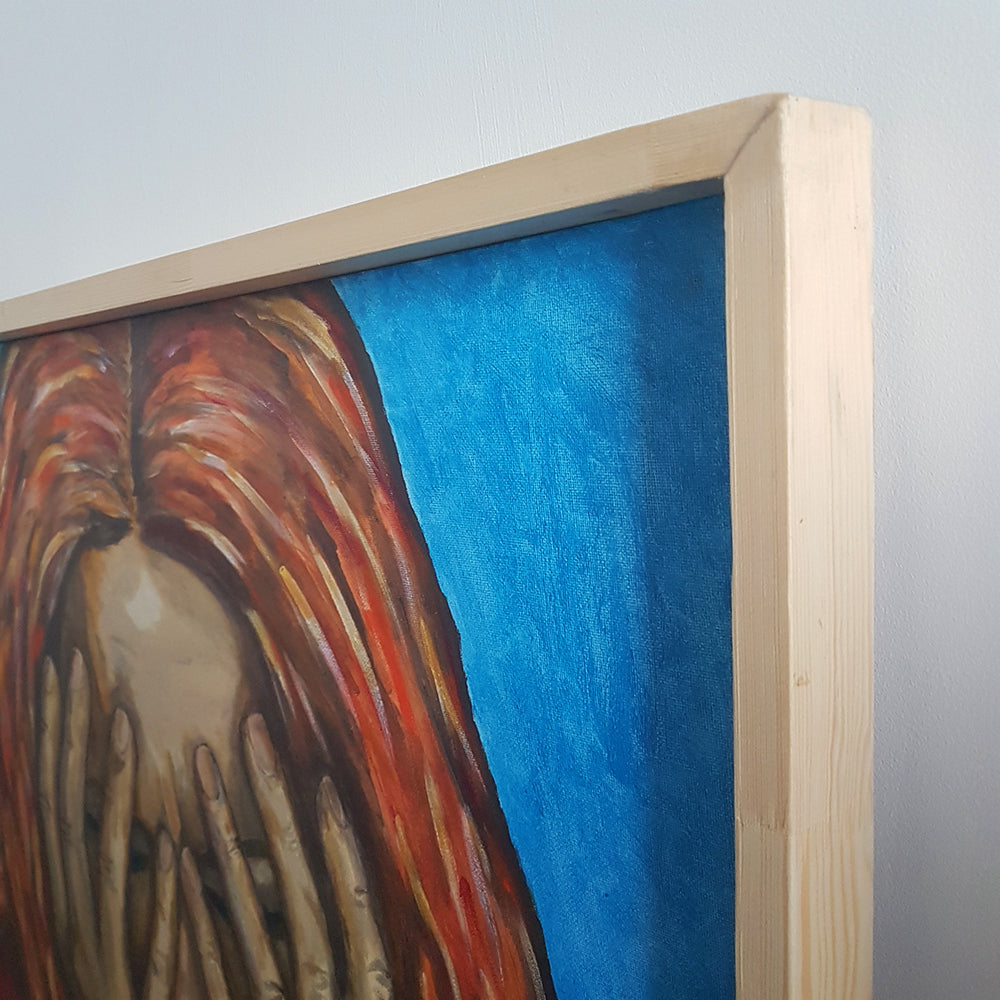 Let It Be, Original Painting by Beata Dagiel, Varnished and Framed, Woman Covering Face with Hands