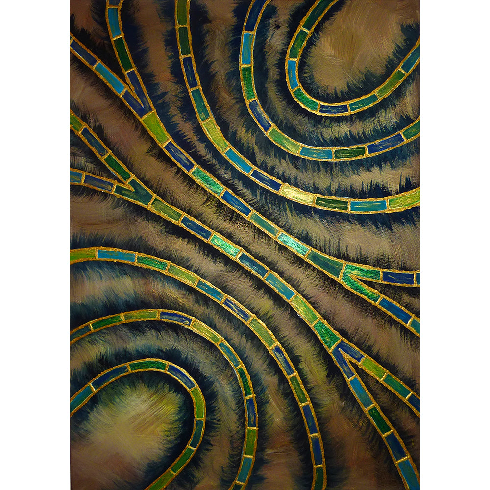 Pearl Swirls, Fine Art Print, Blue and Green chains of pearls on a brown background, from an original painting by Beata Dagiel