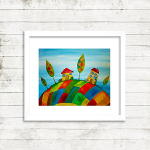 Two Homes, Fine Art Print from an Original Painting by Beata Dagiel, Framed
