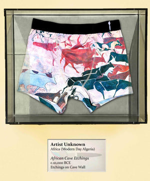 African Cave Etchings, 10,000 BCE, Boxer Briefs