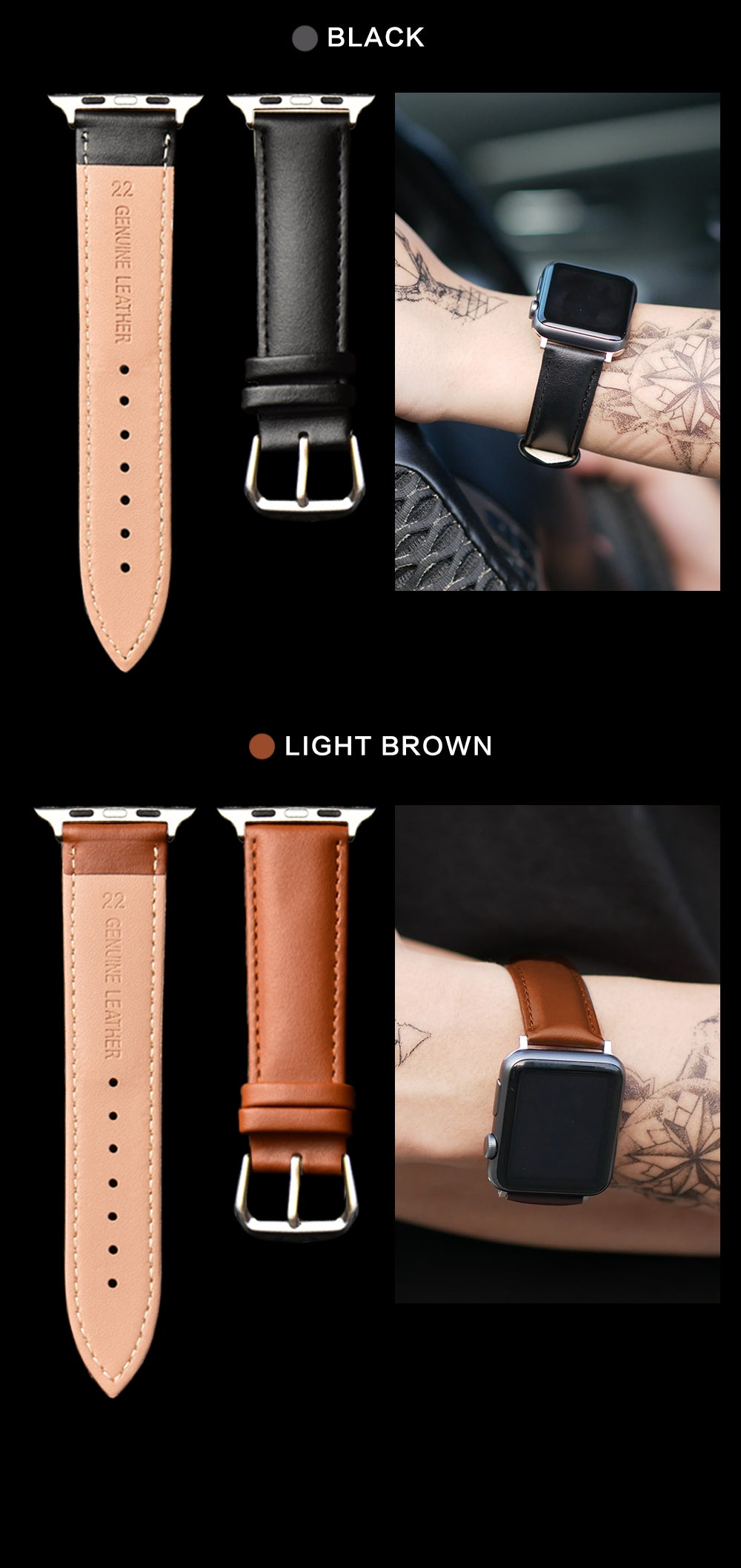Classy leather band for apple watch