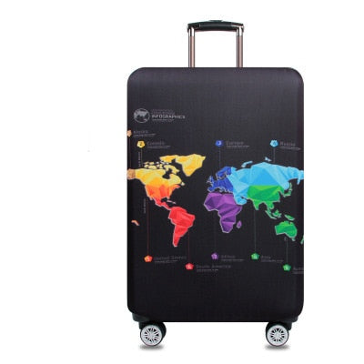 Colorful and Elastic suitcase cover with world map print