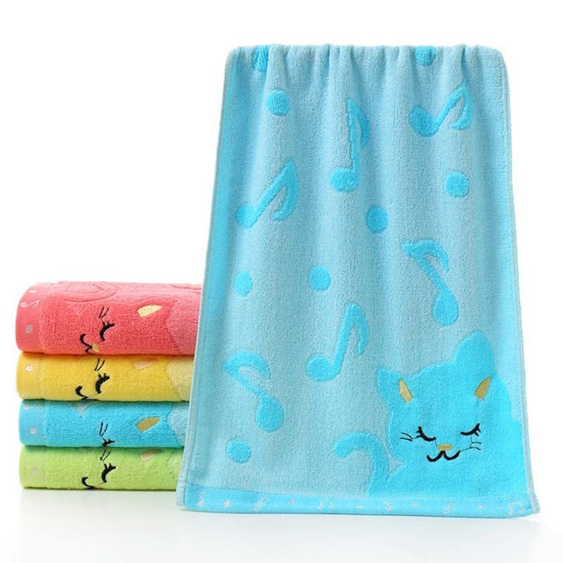 Kids Bamboo Soft Bath Towel (Embroidered Musical Notes & Cat Design)