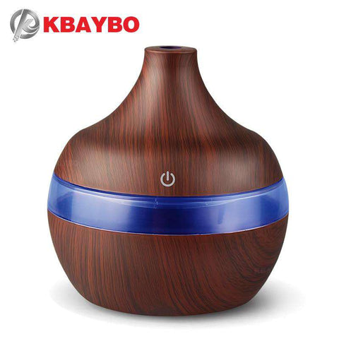 Image of Wood Grain 7 Color LED Essential Oil Diffuser