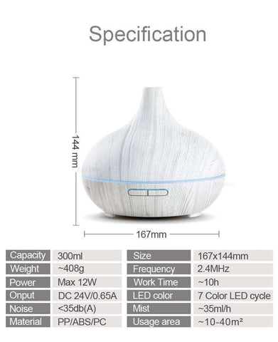 Image of White Wood Essential Oil Diffuser 300ml
