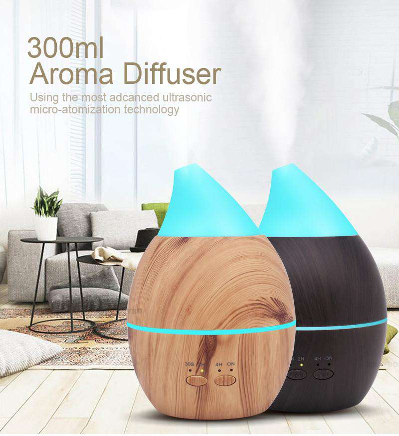 300ml Essential Oil Diffuser Ultrasonic with Wood Grain LED Lights