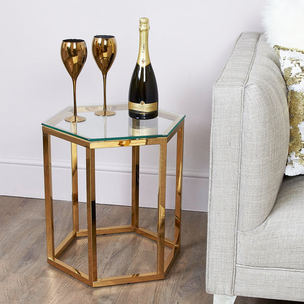 Hexagon Gold Side Table at Lux-Hom