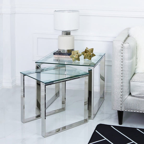 Glass End Table set Chrome at Lux-Hom