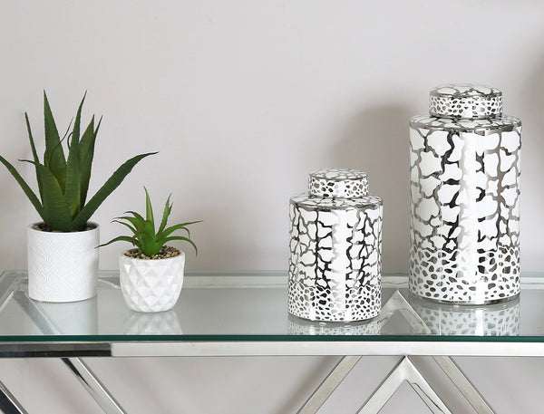 Silver Ginger Jars at Lux-Hom