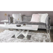 Lux-Hom Tamara Marble Effect Coffee Table MF198-00-MBL-WH Dining Set 5032203155824