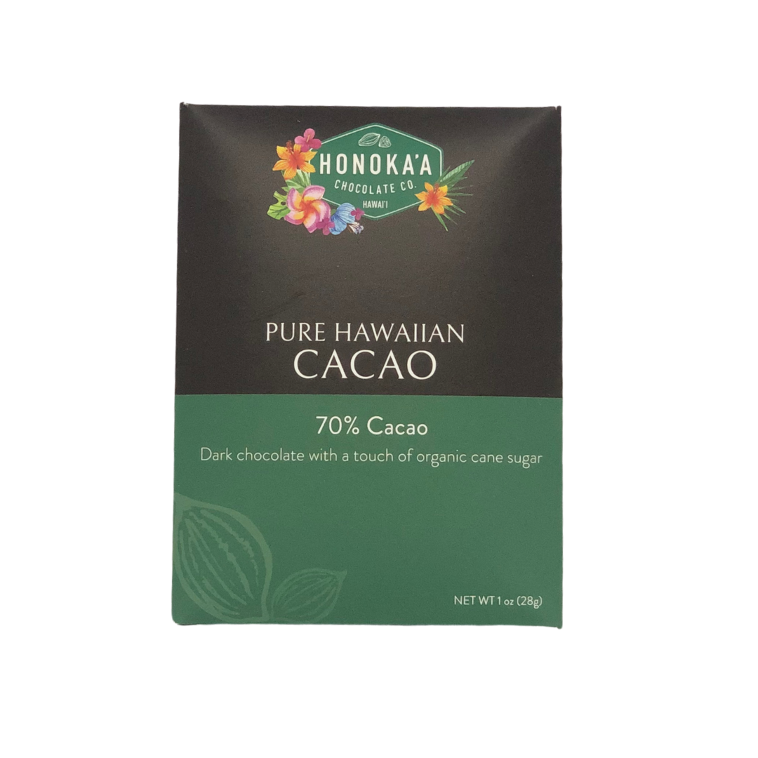 Honoka'a Chocolate Co - Pure Hawaiian Cacao Bar 70% 1oz