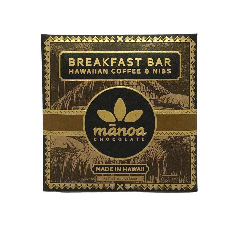 Manoa Chocolate Breakfast Bar Hawaiian Coffee & Nibs 60% .70oz