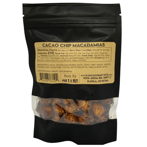 Kaua'i Gourmet Nuts - Cacao Chip Kettle Roasted Macadamias