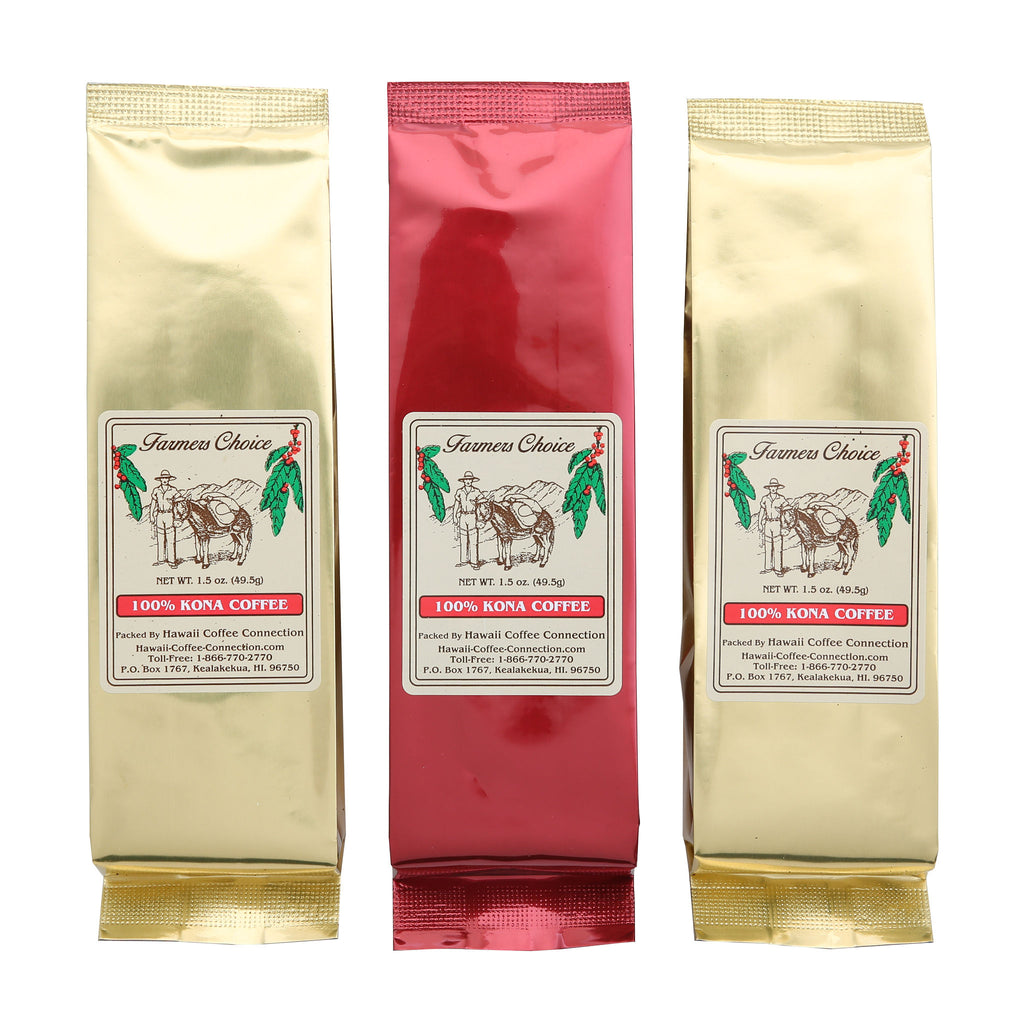 Farmers Choice 100% Kona Coffee Gift Set of 3