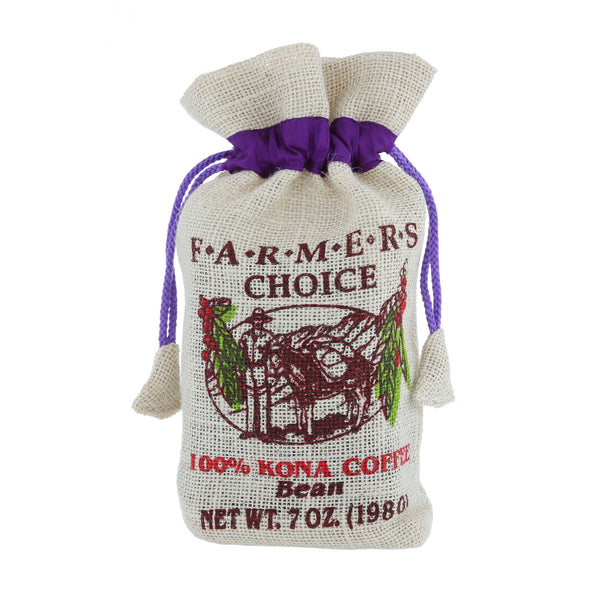 Farmers Choice 100% Kona Coffee Burlap Bag 7oz.