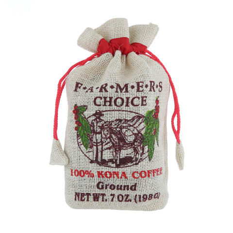 Farmers Choice 100% Kona Coffee Burlap Bag