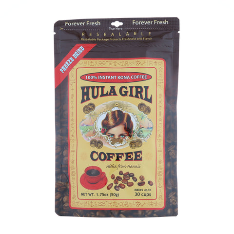 Hula Girl 100% Instant Kona Coffee Pouch