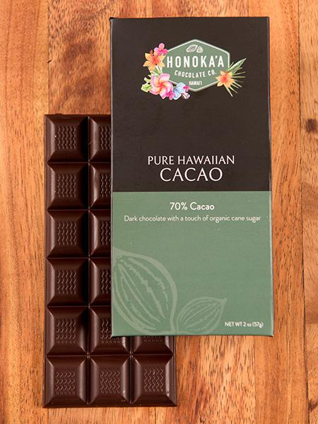 Honoka'a Chocolate Co - Pure Hawaiian Cacao Bar 70% 2oz