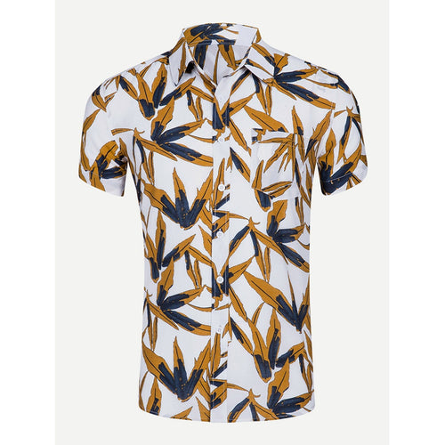 Yellow Men Leaf Print Collar Shirt