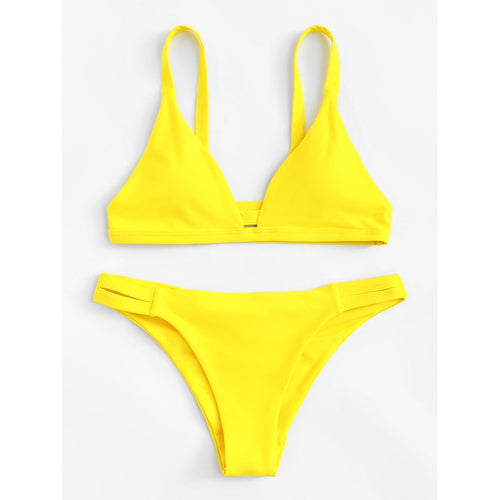 Yellow Caged Back Ruched Detail Bikini Set