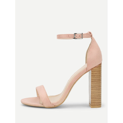 Pink Ankle Strap Cork Heeled Suede Sandals