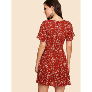 Surplice Wrap Tie Waist Floral Dress