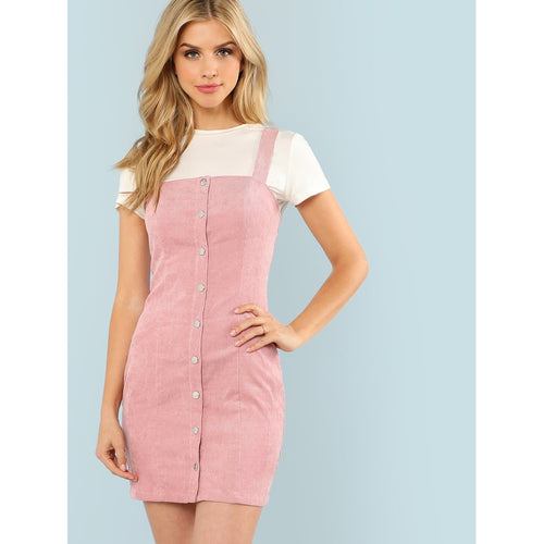 Pink Thick Strap Button Up Front Cord Dress