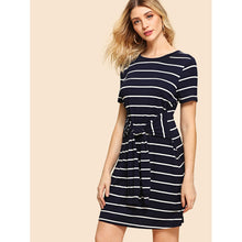 Knot Front Stripe Dress