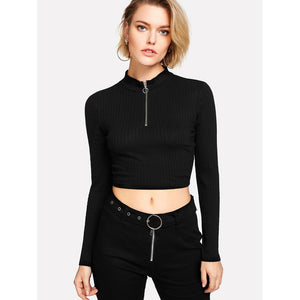 Black Ring Zip Up Front Ribbed Crop Tee