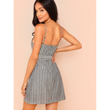 Button Detail Self Belted Overlap Striped Dress