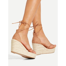 Pink Lace Up Espadrille Wedges