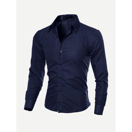 Navy Men Plain Curved Hem Shirt