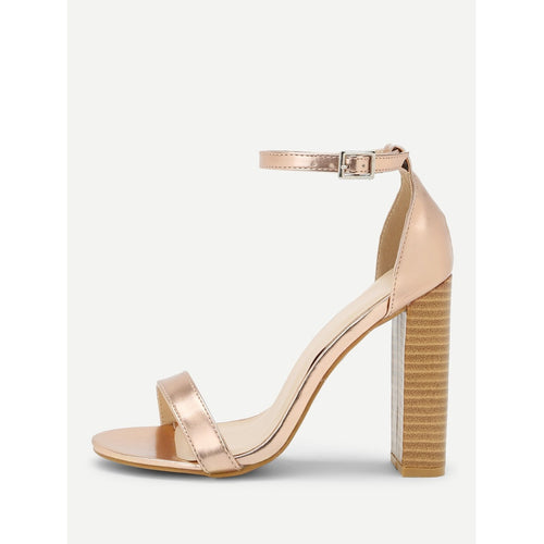Gold Two Part Block Heeled PU Sandals