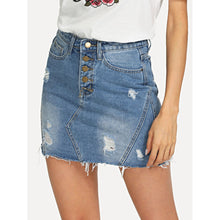 Button Up Bleach Wash Ripped Denim Skirt