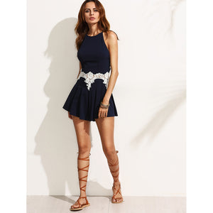Lace Panel Zipper Back Strappy Playsuit