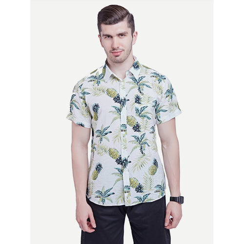 White Men Pineapple Print Shirt