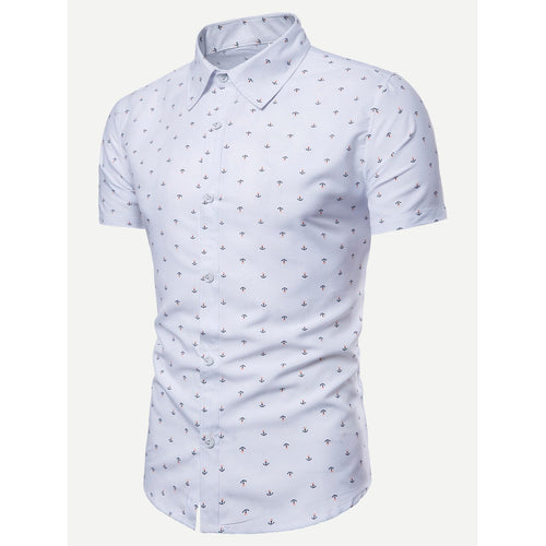 White Men Anchor Print Curved Hem Shirt