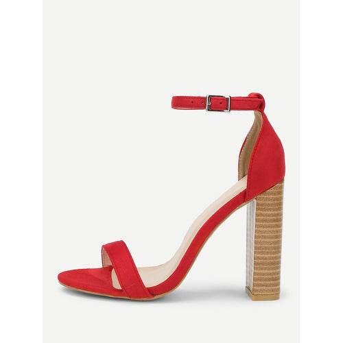 Red Ankle Strap Cork Heeled Suede Sandals