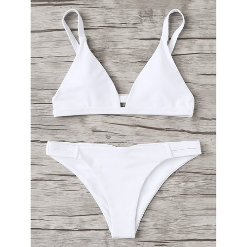 White Caged Back Triangle Bikini Set