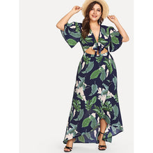 Knot Front Cutout Midriff Tropical Dress