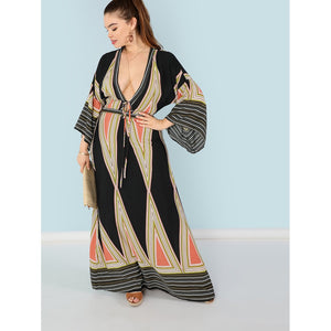 Plunging Neck Bell Sleeve Geo Maxi Dress
