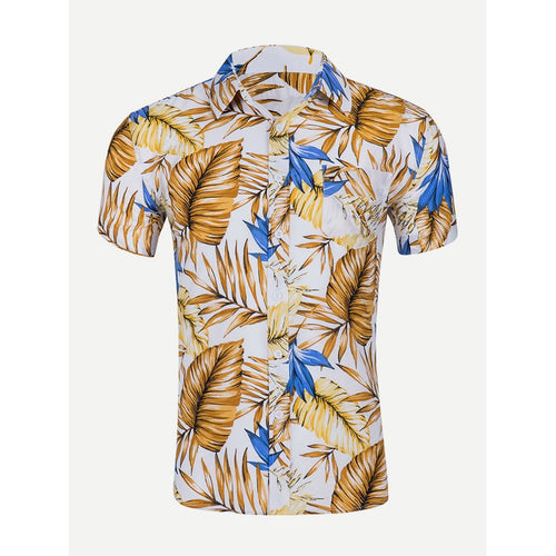 Multi Colour Men Leaf Print Collar Shirt