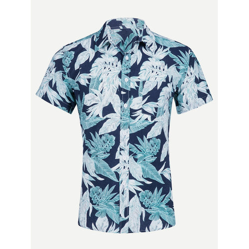 Blue Men Tropical Print Shirt
