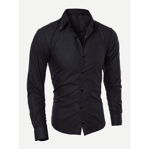 Black Men Plain Curved Hem Shirt